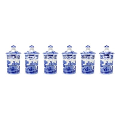 "Spode ""Blue Italian"" Set of 6 Spice Jars"