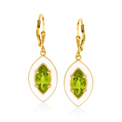 2.90 ct. t.w. Peridot and White Enamel Drop Earrings in 18kt Gold Over Sterling