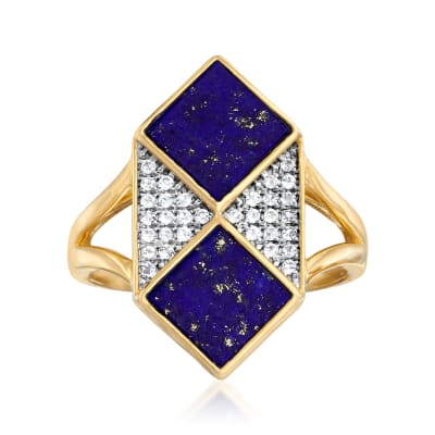 Lapis and .10 ct. t.w. White Topaz Ring in Sterling Silver and 18kt Gold Over Sterling