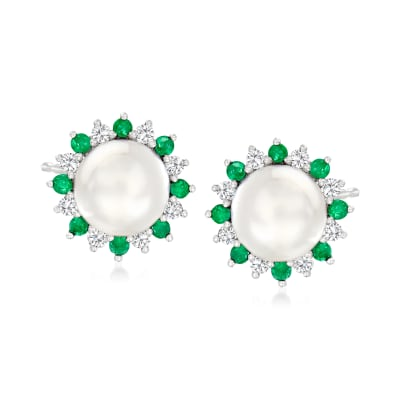 7-7.5mm Cultured Pearl and .40 ct. t.w. Emerald Earrings with .40 ct. t.w. White Sapphire in Sterling Silver