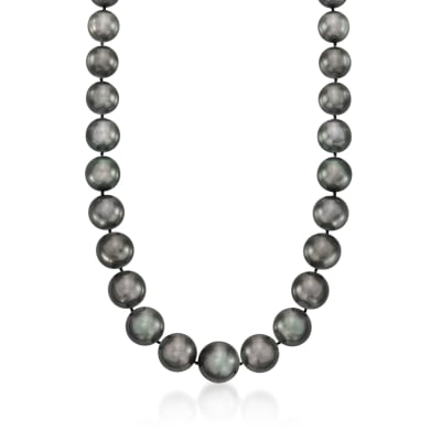11-15mm Black Cultured South Sea Pearl Necklace with Diamond Accents and 14kt White Gold