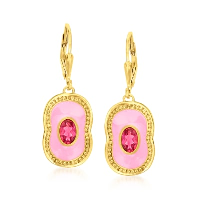 1.00 ct. t.w. Pink Topaz Drop Earrings with Pink Enamel in 18kt Gold Over Sterling
