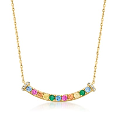 .28 ct. t.w. CZ Curved Bar Necklace in 18kt Gold Over Sterling