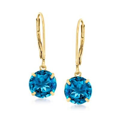 5.00 ct. t.w. London Blue Topaz Drop Earrings in 14kt Yellow Gold
