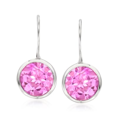 8.25 ct. t.w. Pink Topaz Drop Earrings in Sterling Silver