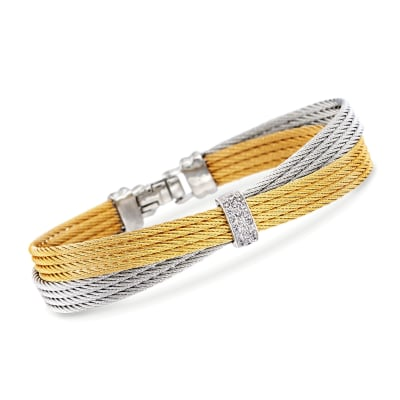 "ALOR ""Classique"" .16 ct. t.w. Diamond Two-Tone Cable Bracelet with 18kt White Gold"