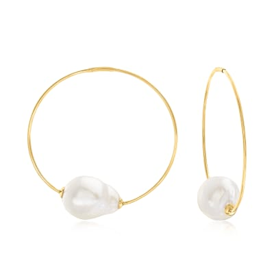 12mm Cultured Baroque Pearl Endless Hoop Earrings in 14kt Yellow Gold