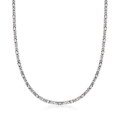 2.3mm Sterling Silver Square Byzantine Necklace