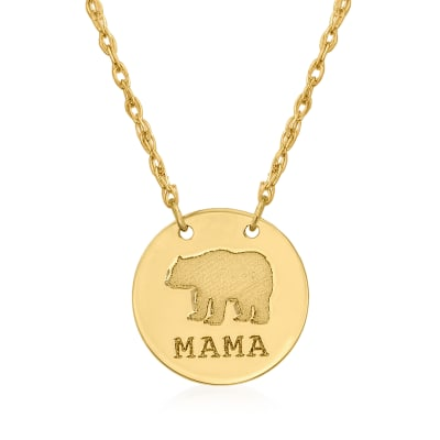 "14kt Yellow Gold ""Mama"" Bear Circle Pendant Necklace"