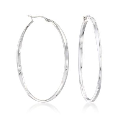 Sterling Silver Oval Twist Hoop Earrings