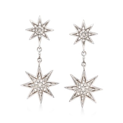 .50 ct. t.w. Diamond Starburst Drop Earrings in Sterling Silver