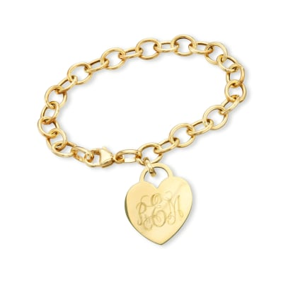 Italian 14kt Yellow Gold Personalized Heart Charm Bracelet