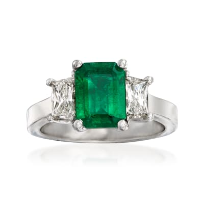 C. 2000 Vintage 1.57 Carat Emerald and .78 ct. t.w. Diamond Ring in 18kt White Gold