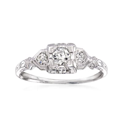 C. 1930 Vintage .30 ct. t.w. Diamond Ring in 18kt White Gold