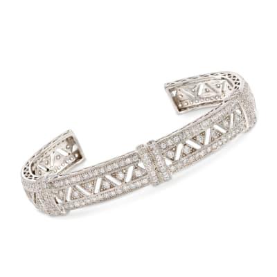 4.40 ct. t.w. CZ Openwork Zigzag Cuff Bracelet in Sterling Silver