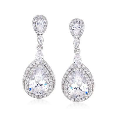 4.70 ct. t.w. CZ Pear-Shaped Drop Earrings in Sterling Silver
