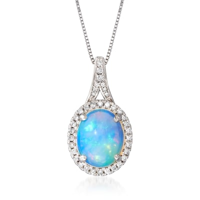 Opal and .24 ct. t.w. Diamond Pendant Necklace in 14kt White Gold