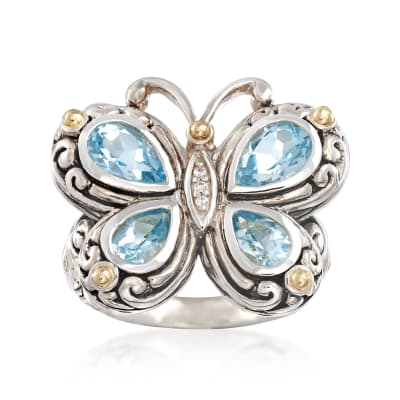 2.40 ct. t.w. Blue Topaz Bali-Style Butterfly Ring with White Topaz and 14kt Gold Accents in Sterling Silver
