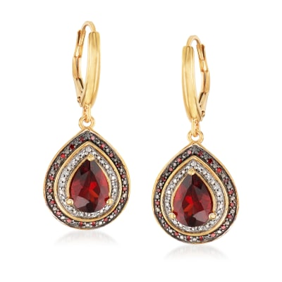 2.60 Carat Garnet and .20 ct. t.w. Red and White Diamond Drop Earrings in 18kt Gold Over Sterling