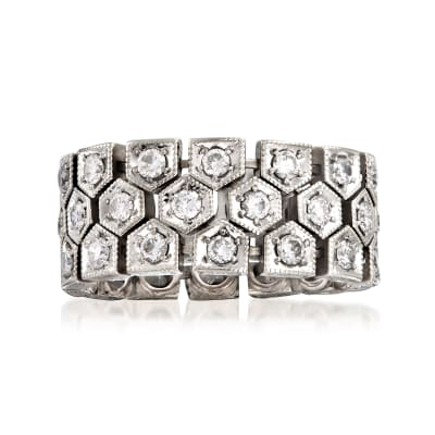 C. 2000 Vintage 2.10 ct. t.w. Diamond Eternity Link Ring in 18kt White Gold