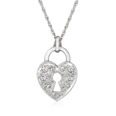 C. 2000 Vintage .20 ct. t.w. Diamond Heart Lock Pendant Necklace in 14kt White Gold