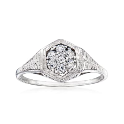 C. 1950 Vintage .20 ct. t.w. Diamond Cluster Ring in 14kt White Gold