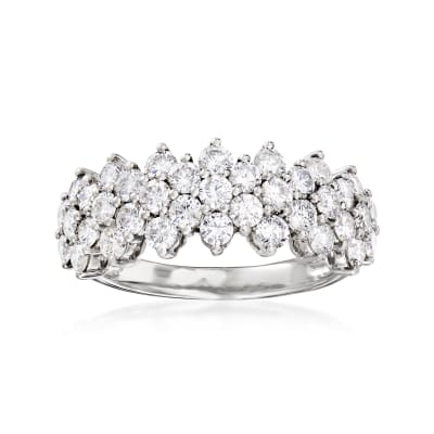 1.88 ct. t.w. Diamond Multi-Row Ring in 14kt White Gold