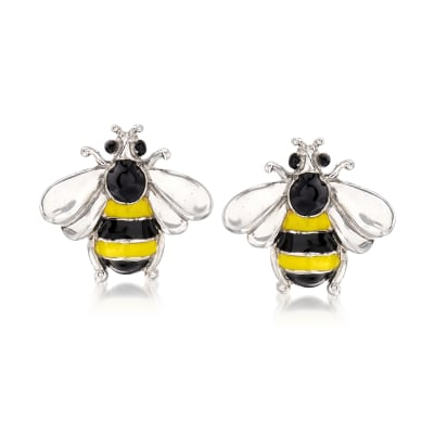 Italian Enamel Bee Earrings in Sterling Silver