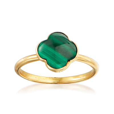 Italian Malachite Clover Ring in 14kt Yellow Gold