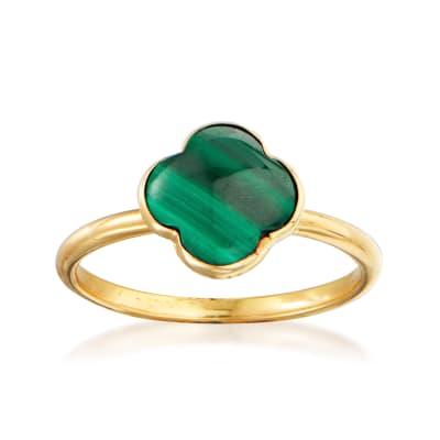 Italian Malachite Clover Ring in 14kt Yellow Gold