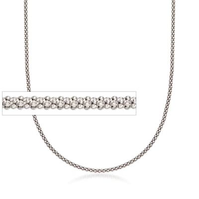 1.5mm Sterling Silver Fancy Popcorn Chain Necklace