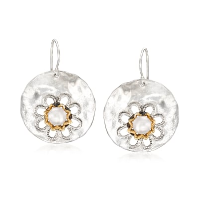 6.5-7mm Cultured Pearl Floral Disc Drop Earrings in Sterling Silver with 14kt Yellow Gold