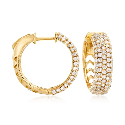 2.00 ct. t.w. Pave Diamond Hoop Earrings in 14kt Yellow Gold