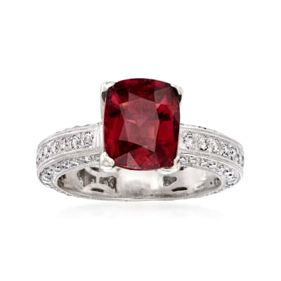 C. 1990 Vintage 3.20 Carat Rhodolite and 1.25 ct. t.w. Diamond Ring in 18kt White Gold