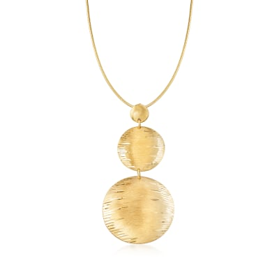 Italian 24kt Gold Over Sterling Silver Disc Drop Necklace