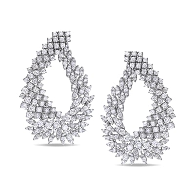 8.70 ct. t.w. Diamond Cluster Earrings in 18kt White Gold
