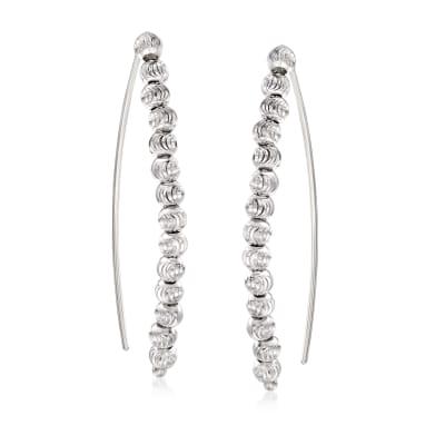Italian Sterling Silver Beaded Threader Earrings