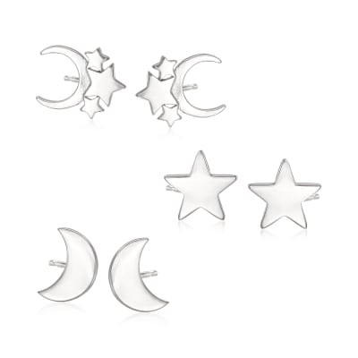 Sterling Silver Jewelry Set: Three Pairs of Celestial Stud Earrings