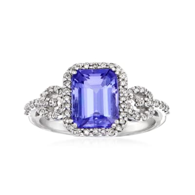 2.30 Carat Tanzanite and .36 ct. t.w. Diamond Ring in 14kt White Gold
