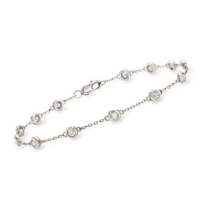 1.00 ct. t.w. Diamond Station Bracelet in Sterling Silver