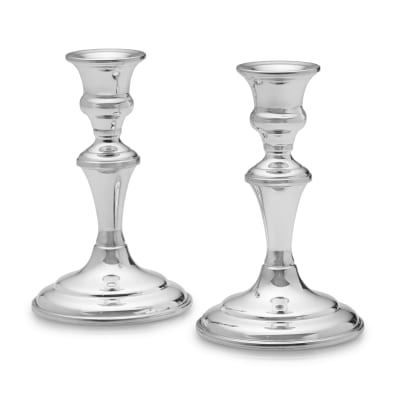 Empire Set of 2 Pewter Medium Candlestick Holders