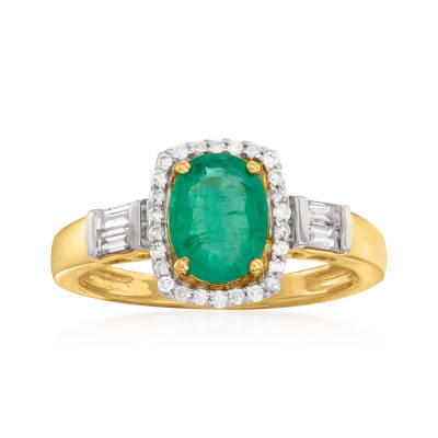.90 Carat Emerald and .31 ct. t.w. Diamond Ring in 14kt Yellow Gold