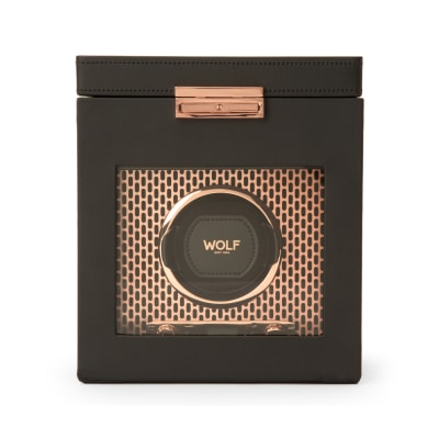 "Wolf ""Axis"" Copper-Plated Steel Single Watch Winder with Storage"