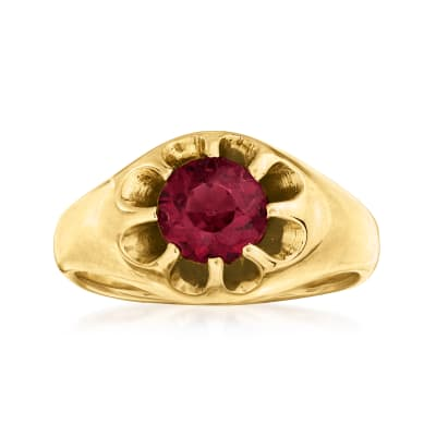 C. 1970 Vintage 1.10 Carat Rhodolite Garnet Ring in 14kt Yellow Gold