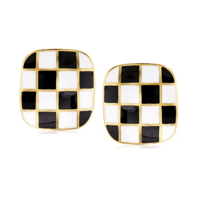 C. 1970 Vintage Black and White Enamel Clip-On Earrings in 18kt Yellow Gold