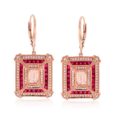 3.60 ct. t.w. Multi-Gemstone and .48 ct. t.w. Diamond Drop Earrings in 14kt Rose Gold