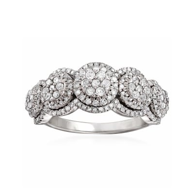 1.00 ct. t.w. Diamond Circle Cluster Ring in Sterling Silver