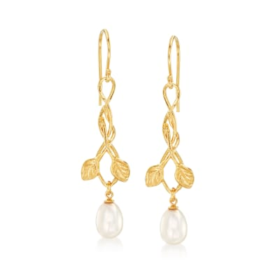 6.5-7mm Cultured Pearl Leaf Vine Drop Earrings in 18kt Gold Over Sterling