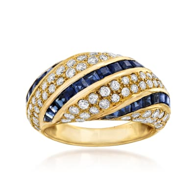C. 1980 Vintage 2.15 ct. t.w. Sapphire and 1.54 ct. t.w. Diamond Ring in 18kt Yellow Gold