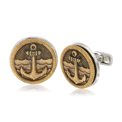 Men's Sea Anchor Coin Cuff Links in Sterling Silver